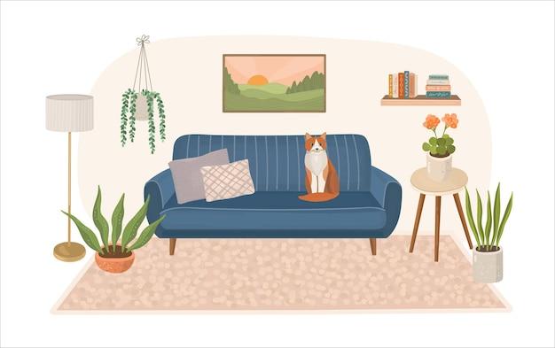 Interior de casa moderna com sofá e gato sentado