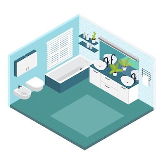 Interior de composição isométrica do banheiro nas cores brancas e azuis com um vaso sanitário e banheira