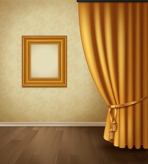 Interior de cortina clássica com plinto de piso de madeira de parede de armação