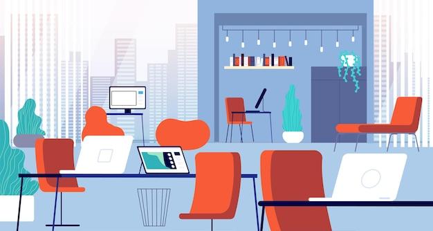 Interior de coworking. escritório aberto, local de trabalho do computador da cadeira. espaço empresarial moderno criativo