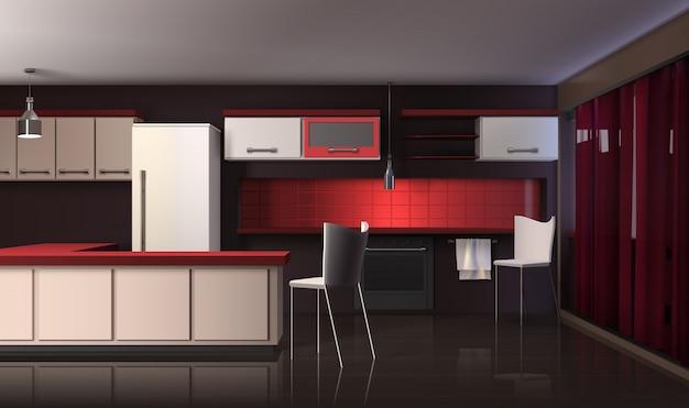 Interior de cozinha moderna de luxo