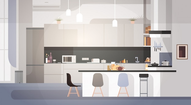 Interior de cozinha moderna vazio nenhum quarto de casa de pessoas