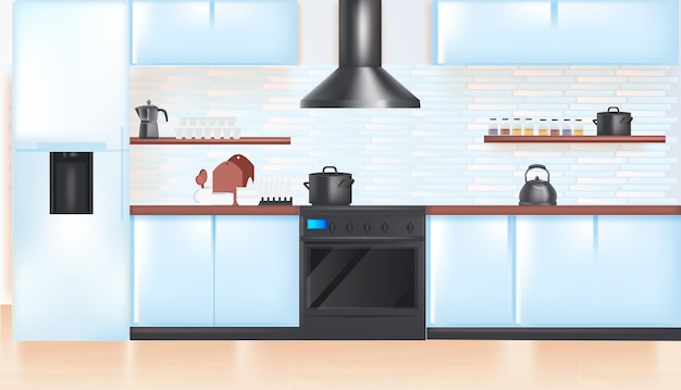 Interior de cozinha moderna vazio sem pessoas casa quarto com ilustração vetorial horizontal de móveis