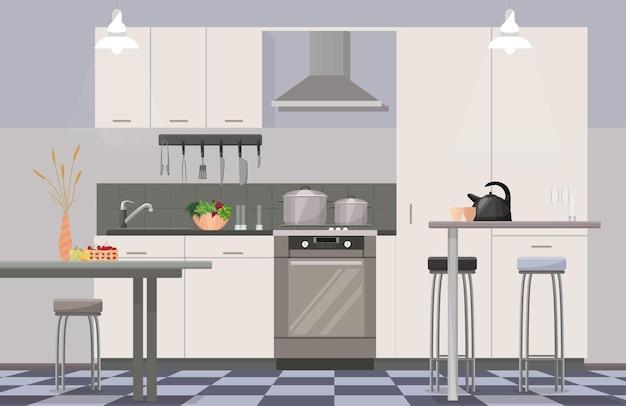 Interior de cozinha moderno e confortável