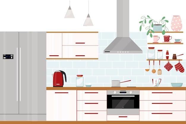 Interior de cozinha moderno e elegante com geladeira dupla, exaustor, exaustor e utensílios de cozinha