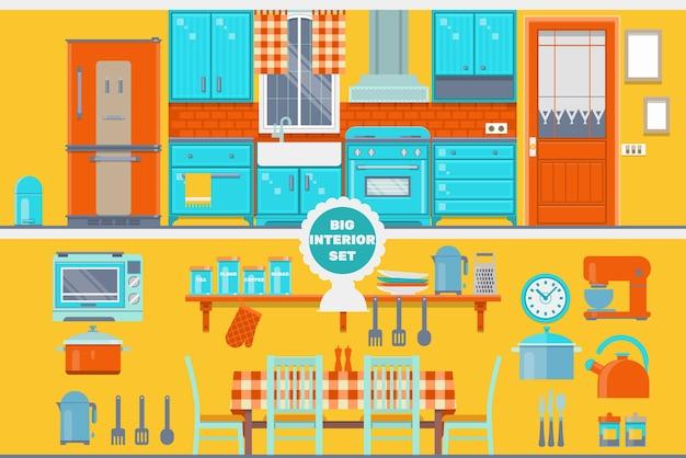 Interior de cozinha retro com móveis, utensílios, alimentos e dispositivos. incluindo geladeira, forno, microondas, chaleira, vaso. ilustração vetorial plana