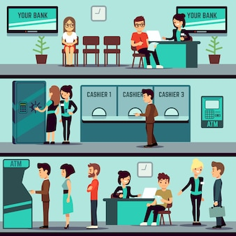 Interior de escritório do banco com pessoas