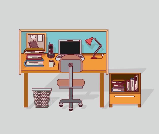 Interior de escritório em casa de fundo colorido com armário com livros