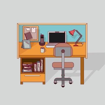 Interior de escritório em casa de local de trabalho de fundo colorido