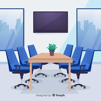 Interior de escritório moderno com design liso