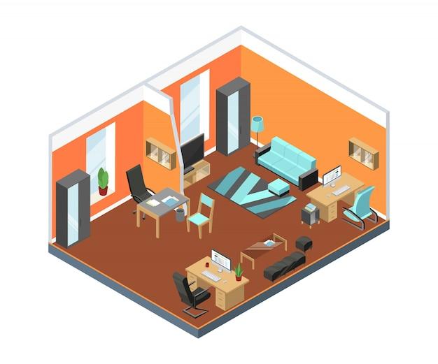 Interior de escritório moderno com espaços de trabalho confortáveis. mesas, poltronas de couro e outros móveis em estilo isométrico