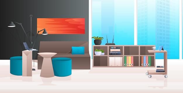 Interior de escritório moderno sem sala de armários com mobília ilustração horizontal