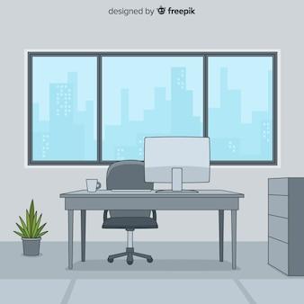 Interior de escritório profissional de mão desenhada