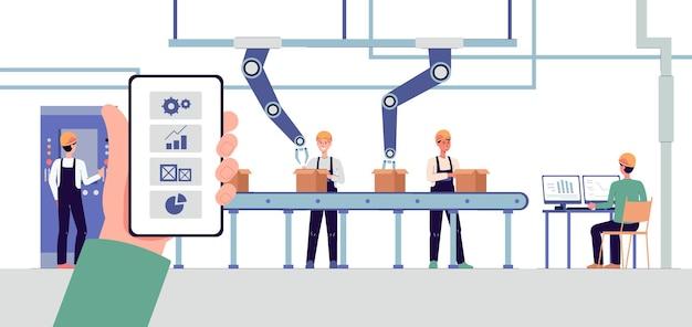 Interior de fábrica inteligente com braços robóticos e ilustração vetorial de correia transportadora