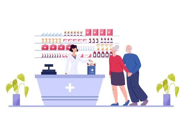 Interior de farmácia moderna com visitante