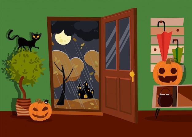 Interior de halloween do corredor decorado com rostos de abóboras, caldeira e aranha com porta aberta para a rua. gato preto na planta em casa. paisagem da lua, árvores amarelas, chuva. ilustração em vetor plana dos desenhos animados