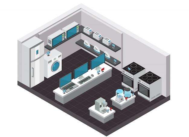 Interior de loja de eletrônicos de consumo isométrico com eletrodomésticos pequenos e grandes