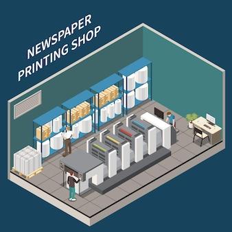 Interior de loja de impressão de jornal isométrico com equipamento de produtos impressos, papel e três personagens humanos ilustração 3d