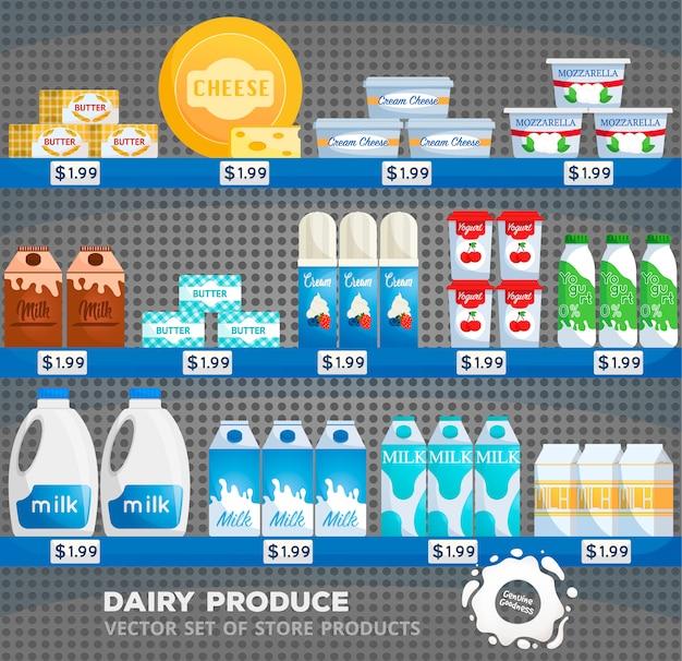 Interior de loja de supermercado com mercadorias. leite e iogurte, queijo na vitrine do supermercado. armazene o balcão com produtos lácteos. mercearia com preços, prateleira ou geladeira com compras.