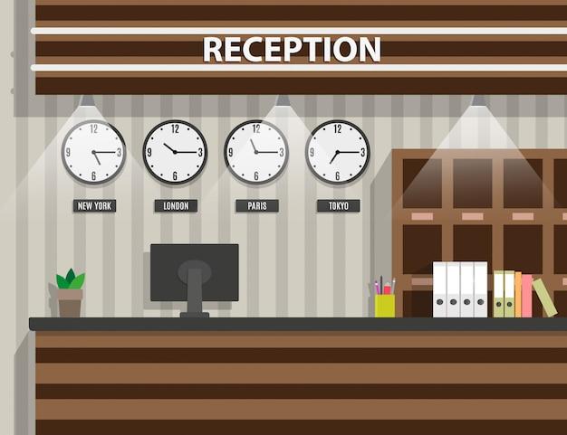 Interior de madeira da recepção