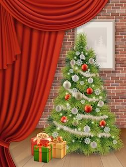 Interior de natal com árvore do abeto e cortina vermelha no fundo da parede de tijolo. ilustração realista.