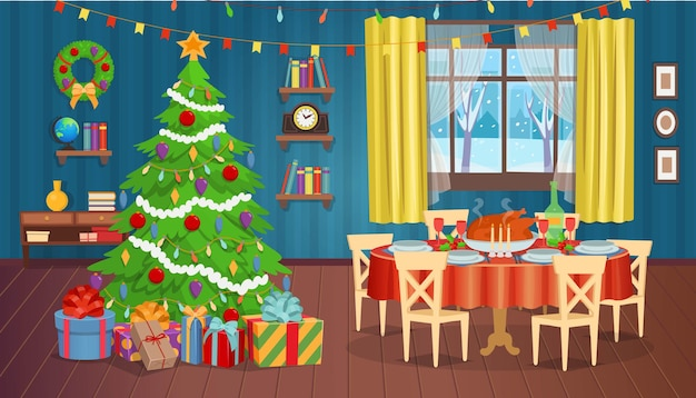 Interior de natal com lareira, janela da árvore de natal e poltronas. ilustração vetorial