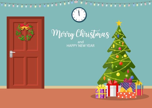 Interior de natal com porta e árvore