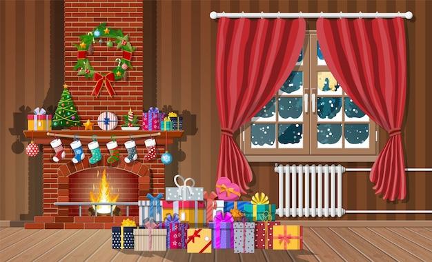 Interior de natal de quarto com janela