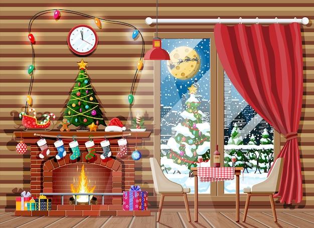 Interior de natal de uma sala com árvore