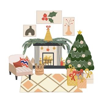 Interior de natal escandinavo isolado com lareira, árvore de natal poltrona aconchegante com almofadas