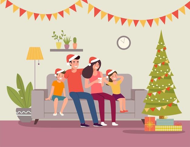 Interior de natal. mãe e pai com filhos sentados no sofá perto da árvore de natal e decoração. ilustração em vetor plana