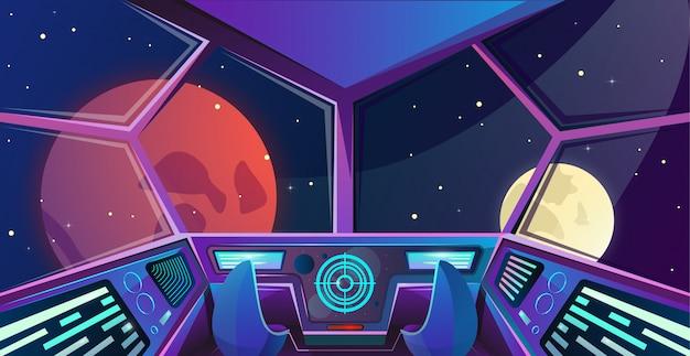 Interior de nave espacial da ponte de capitães com poltronas em cores roxas