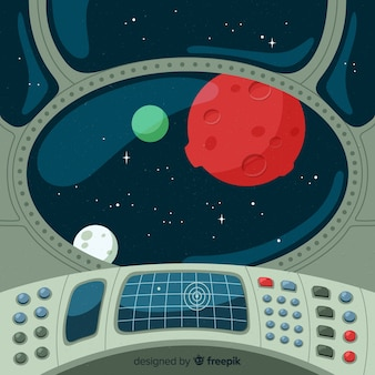 Interior, de, nave espacial, fundo