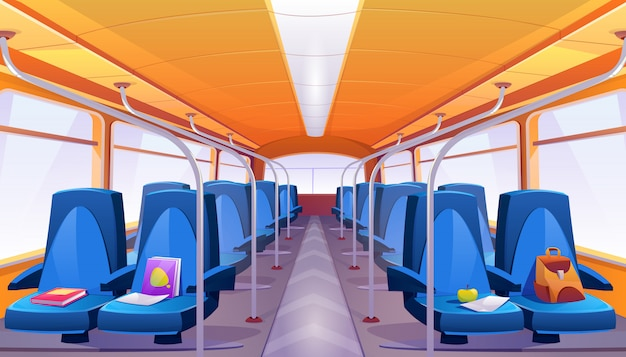 Interior de ônibus escolar vazio de vetor com assentos azuis