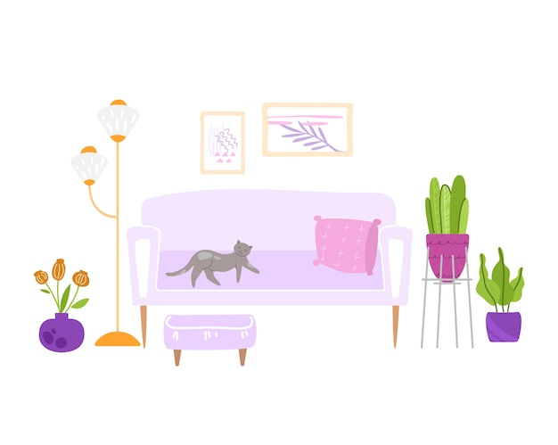 Interior de quarto aconchegante escandinavo - pufe, sofá, mesa, abajur, quadros na parede e plantas em vasos, design de interiores moderno