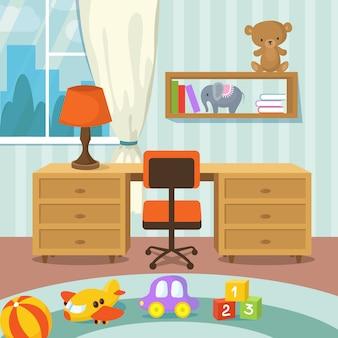 Interior de quarto de bebê com cama e brinquedos em ilustração vetorial de estilo simples