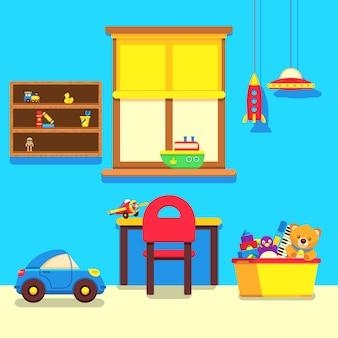Interior de quarto de bebê com janela, local de trabalho e coleção de brinquedos