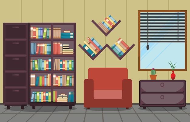 Interior de quarto de biblioteca pilha de livro no design plano de estante