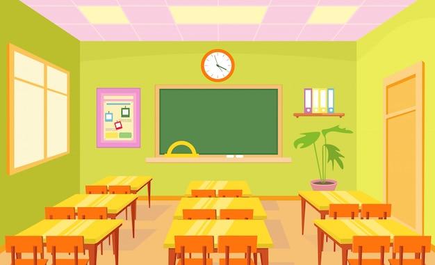 Interior de quarto de classe de escola vazia em cores pastel brilhantes com placa e mesas para crianças em estilo simples dos desenhos animados.