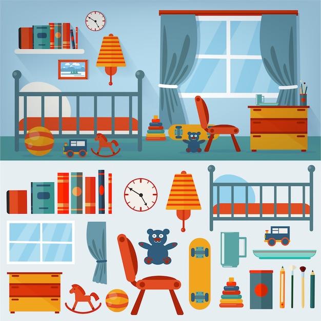 Interior de quarto de crianças com mobiliário e conjunto de brinquedos