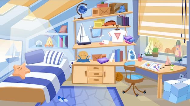 Interior de quarto de crianças com móveis e brinquedos.