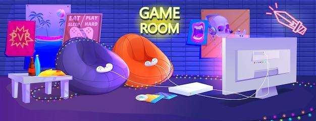 Interior de quarto de jogo adolescente