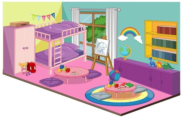 Interior de quarto de menina com elementos de mobília e decoração em tema rosa