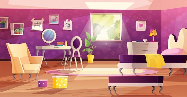 Interior de quarto de menina nas cores rosa e violetas.
