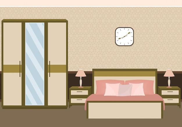Interior de quarto em tons pastel, com móveis.