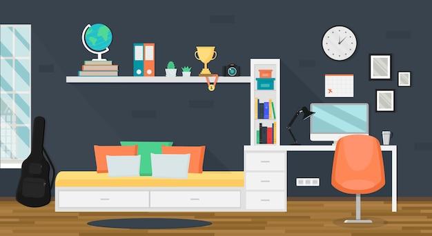 Interior de quarto moderno adolescente com espaço de trabalho na moda para lição de casa