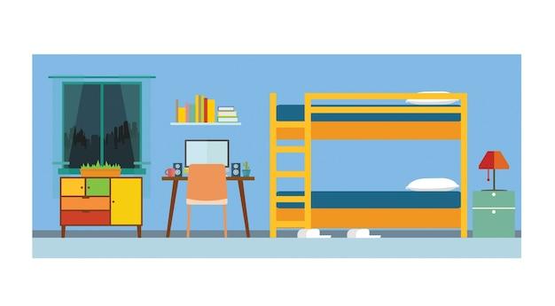 Interior de quarto pequeno apartamento