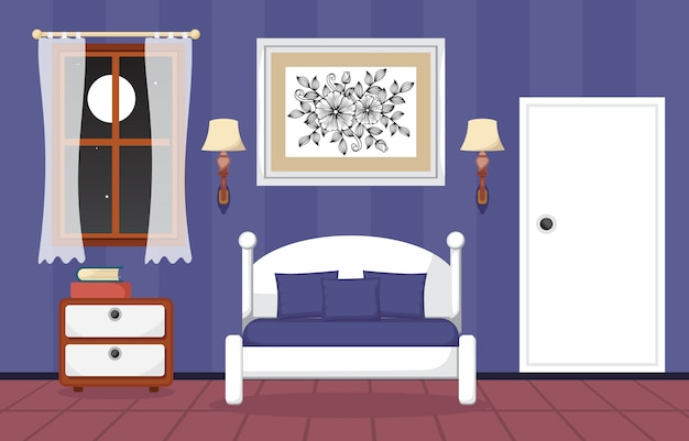 Interior de quarto quarto dormindo design plano ilustração