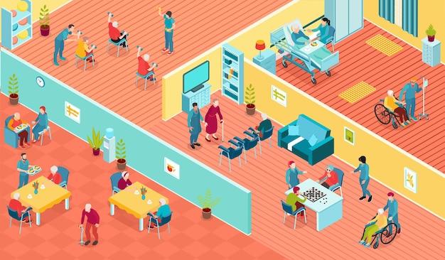 Interior de quartos de lares de idosos, residentes e pessoal com deficiência, ilustração isométrica horizontal 3d