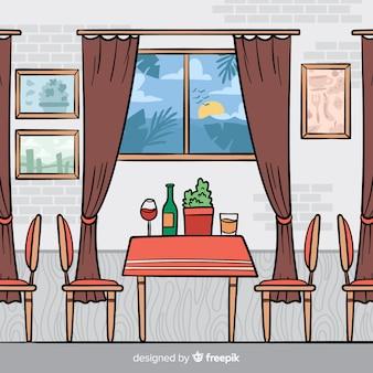 Interior de restaurante elegante mão desenhada